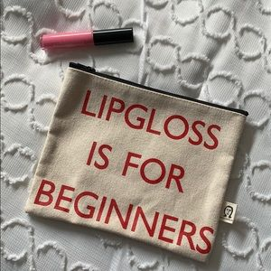 Lipgloss Is For Beginners Canvas Makeup Pouch